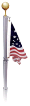 EZPole 21' Liberty Telescoping Swivel System Polished Aluminum Flagpole