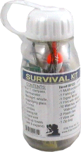 Elite First Aid 80123 Waterproof Clear Plastic Bottle Survival Kit