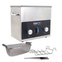 GemOro 3QTH Next Gen Stainless Steel Ultrasonic Jewelry Cleaner With Basket, Tweezers & Ring Rack